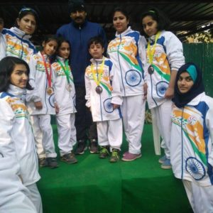 Manoj Tiwari with girls of Tong IL Moo Do team (different weight category) from India