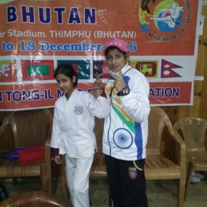 Tong IL Moo Do Gold medalist, Syed Baseerat with coach Sayma in Thimpu, Bhutan