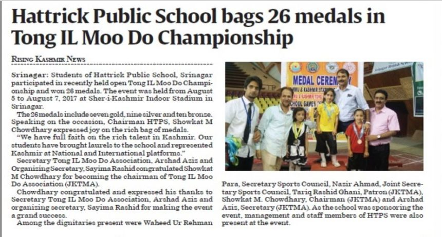 Hattrick Public School bags 26 medals in TONG IL MOO DO Championship