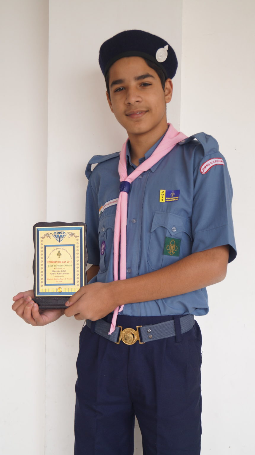 Kamran Altaf of Grade 8 felicitated by J&k Bharat Guides and Scouts